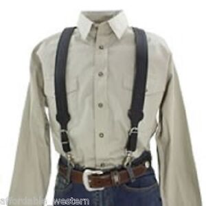 Nocona BasketWeave Tooled ~LEATHER SUSPENDERS~Adjustable Galluses w/Trigger Snap