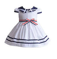 Cinda Girls Cotton Party Dress Blue Red White 3 6 9 12 18 Month 3 4 5 6 7 Years