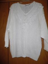 Women's Vintage 80's FoCal Point Ivory Beaded Ramie Acrylic  Sweater 22/24