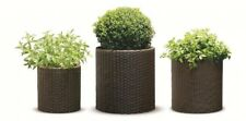 Round Resin Planters Indoor / Outdoor Lightweight Brown Rattan Design (Set of 3)