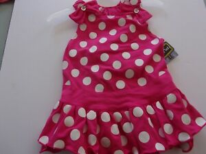 Pink Dot Strappy DRESS Dog L Large new Pup Crew puppy pet