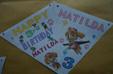 PERSONALISED  PAW PATROL GIRL PARTY BUNTING /BANNER / BIRTHDAY DECORATION