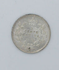 1902 Canadian silver coin 5 cents AU-50 condition Big H