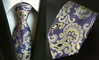 Purple Tie and Yellow Paisley Patterned Handmade 100% Silk Necktie