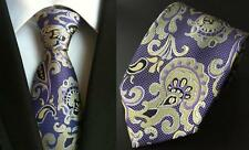 Purple and Yellow Paisley Patterned Handmade 100% Silk Tie
