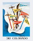 Ski Vail Aspen Telluride Winter Park Colorado 16X20 Vintage Poster FREE S/H USA