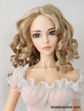 "1/3 1/4 bjd 7-8"" doll head beige blonde curly wig dollfie minifee JD340SM476M"