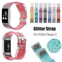 Glitter Silicone Sport Bracelet Silicone Watch Band Strap For Fitbit Charge 2 HQ