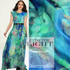 Colorful Pure Silk Chiffon Fabric with Abstract Floral Print Colth By The Metre