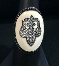 Sterling Silver & Enamel Fluer De Lis Statement Ring W/ White & Black Gemstones