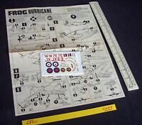 *1970s Vintage FROG Instructions & Decals (No Kit) Hawker Hurricane IIC (C257)