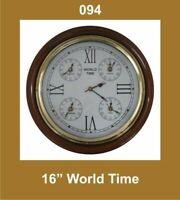 World Time Clock 16'' Nautical Roman Number