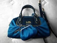 NEW COACH Ltd Ed AMANDA SATIN Teal Blue Mini Tote Bag Satchel Coin Purse Wallet
