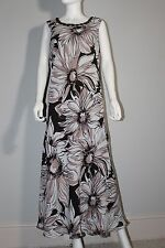 Windsmoor Casual brown SunDress ,sleeveless Polyester Floral Maxi 14 Full-Length