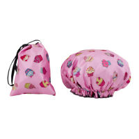 Dilly's Collections Double Lined Shower Caps / Matching Satin Bag Cupcake Style