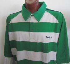NWT Pepe Jeans London Green / White Striped Polo Shirt Long Sleeves Size 4XL