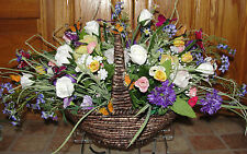 Topper Grave Cemetery Tombstone Saddle Fall Thanksgiving Basket Silk Flowers