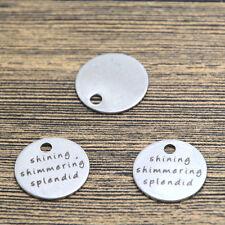 10pcs shining shimmering splendid charm silver tone message charm pendant 20mm