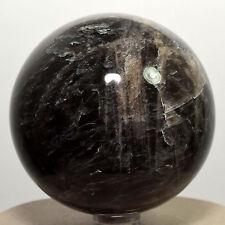 "2.6"" Black Moonstone Sphere Natural Crystal Ball Feldspar Mineral - Madagascar"