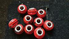 10 RED GLASS BEADS BLACK SWIRLS