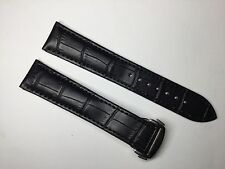 20MM BLACK LEATHER STRAP BAND FOR OMEGA SPEEDMASTER SEAMASTER PLANET OCEAN