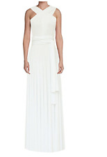 E K Women's Convertible Multi Way Maxi Dress Long Infinity Gown Ivory S/M Cockta