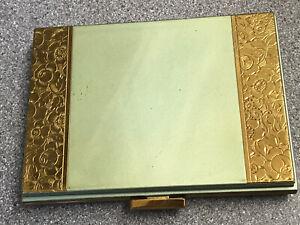 Vintage Gold Green Enamel Cigarette Case Powder Comb Lipstick Pill Case/Compact