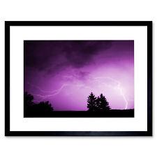 Photo Landscape Purple Sky Lightning Storm Framed Print 12x16 Inch