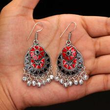 Festive Collcetion Black&Red Pair of Dangle Afghani Earrings for Girls &Woman