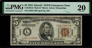 1934 $5 Hawaii WWII Emergency Issue FR-2301 Mule Star Note - Graded PMG 20
