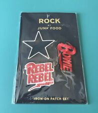 David Bowie Iron-On 3 Pk set of Patches Rock By Junk Food Rebel Rebel Free Ship