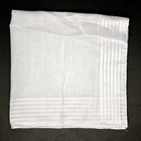 "Hand Rolled Mens Cotton Pocket Square 17.5"" White on White 7 Stripe Edge TV Fold"