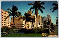 Postcard Famous Hotel Row Collins Avenue Raleigh Delano Ritz Miami Beach Florida