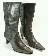 Bandolino womens gold leather mid heel mid calf boots uk 6.5