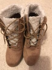 Tan brown wedge ankle boots suede effect lace up from New Look UK size 2