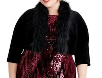 Jessica Howard Womens Jacket Black Size 3X Plus Faux-Fur Trim Bolero $79 104