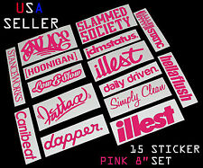 ILLEST FATLACE STANCEWORKS JDM SET 8 INCH 15 PINK STICKERS DECAL DAPPER CANIBEAT