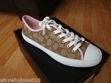 NIB NEW Women Coach Empire  Signature Sneakers Shoes Khaki/Petal Size 9.5