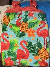 FLAMINGOS~2 crochet top kitchen bath hand cottage cabin towels FLAMINGO buttons