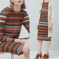 Orange Striped Knit Long Sleeve Dress Mango Size 8 10 12 US 4 6 8 Zara Blogger