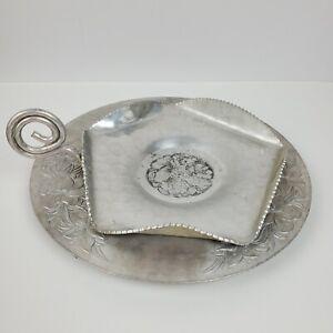 Vintage Metalware Pounded Aluminum LOT OF 2 Plate & Server