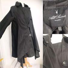 Ladies ALL SAINTS Galia Black Waterfall Mac Coat Winter Autumn Size 12 Trench