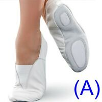 GYMNASTIC SHOES WHITE LEATHER TRAMPOLINING pumps TRAINING DANCE CUSHIONED (AA)