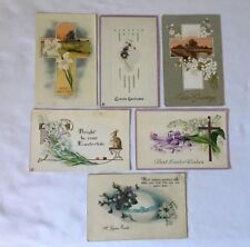 Vintage Easter Postcards (6) Embossed Cross Flowers Eggs Bunny Rabbits 1920's