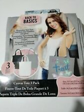 Back To Basics Pack of 3 Canvas Tote Bags Craft Supplies
