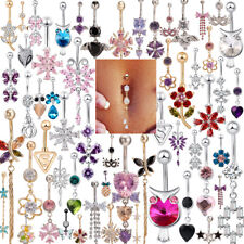 Belly Button Dangle Rings Crystal Jewelry Barbell Navel Ball Bar Body Piercing