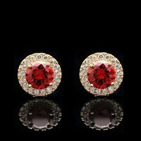 2CT Halo Garnet Red Created Diamond Earrings 14k Yellow Gold Round Cut Studs
