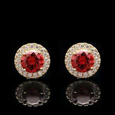 2CT Halo Garnet Red Created Diamond Earrings 14k White Gold Round Cut Studs