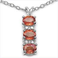 Orangener Saphir & Diamant Anhänger Mit Kette 925er Silber Unikatschmuck - Neu