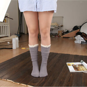 Winter Breathable Lace Edge Long Soft Knitting Casual Women Stockings Over